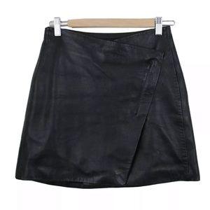 Markoo Black Lamb Skin Leather Asymmetrical Skirt